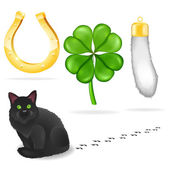 Vector luck symbols and black cat — Stock Vector