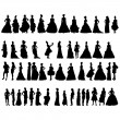 Stock Vector: Women silhouettes in various dresses. Vector illustration