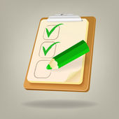 Checklist with a pencil. Vector illustration — Vecteur