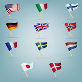 Moving flags set. Vector illustration — Stock Vector