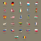 European Union country flags set. Vector illustration — Stock Vector