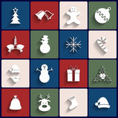 Flat icons set. Christmas and New Year. Vector — Wektor stockowy
