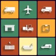 Vehicle, transport and logistics vector flat icons. — Stock Vector #35273051