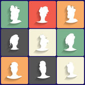Vector Flat Icons Set of Female Silhouettes — Stock Vector