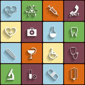 Medical vector flat icons set — Stock Vector