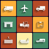 Vehicle, transport and logistics vector flat icons. — Stock Vector