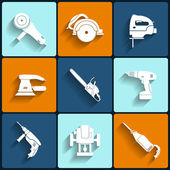 Electric tool flat vector icons set — Stock Vector