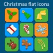 Flat icons set. Christmas and New Year. Vector — Stock Vector