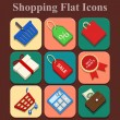 Shopping vector flat color icons set — Stock Vector
