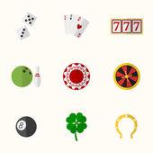 Casino and Gambling Flat Icons — Stock Vector