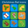 Stock Vector: Flat icons set. Christmas and New Year. Vector