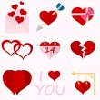 Set icons of Valentine's day red hearts signs — Stock Vector