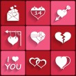 Set icons of Valentine's day red hearts signs — Stock Vector #37504869