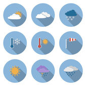 Vector flat design style weather icons set — Vector de stock