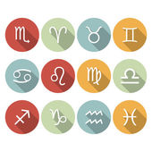 Signs of the zodiac. Vector flat icons — Stock Vector