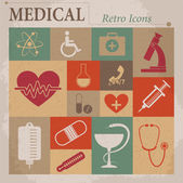 Medical vector flat retro icons — Stock Vector
