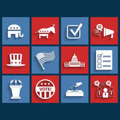 Election vector retro flat icons — Stock Vector