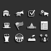 Election vector retro flat icons — Stock Vector