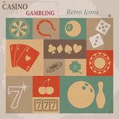 Casino and Gambling Vector Flat Retro Icons — Stock Vector