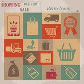 Shopping Vector Flat Retro Icons — Vecteur