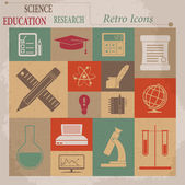 School and Education Vector Flat Retro Icons — Stock Vector