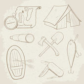 Camping hand drawn vector icons — Stock Vector