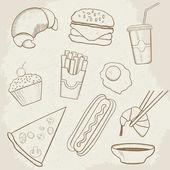 еда и напитки вектор рука нарисованные значки — Cтоковый вектор
