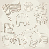 Election hand drawn vector icons — Stock Vector