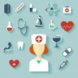 Flat design modern vector illustration of medical icons — Stock Vector