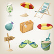 Beach items set. Travel, vacation items. Vector illustrations — Stock Vector #51386807