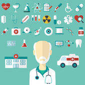 Set of flat Medical icons. Vector illustration — Stock Vector