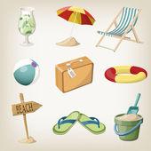 Conjunto de itens de praia. viagens, itens de férias. ilustrações vetoriais — Vetorial Stock