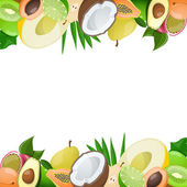 Two borders made of delicious ripe fruit. Vector illustration — Stock Vector