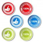 Vector satisfaction guarantee stickers - gesture hand — Stock Vector #11626836