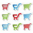 Stock Vector: Sticker, shopping cart, trolley, item, button