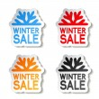 Paper winter sale, sticker - Christmas offer — Stock Vector