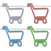 Shopping cart item - shopping trolley, paper clip — Stock Vector