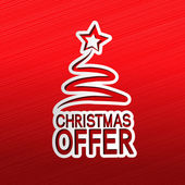 Paper Christmas tree, sticker - Christmas offer — Vettoriale Stock