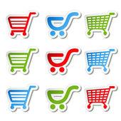 Sticker, shopping cart, trolley, item, button — Stock Vector