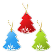 Paper Christmas tree, tag - snowflake decoration — Stock Vector