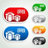 Paper Christmas offer, gift, sticker — Stock Vector