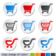 Vector sticker, shopping cart, trolley, item, button — Stock Vector