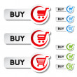 Vector shopping cart item, trolley, buy button - Stock Vector