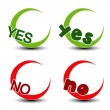 Vector yes no symbol - positive negative icon - Stock Vector