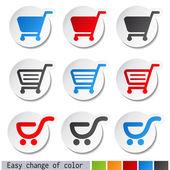 Vector sticker, shopping cart, trolley, item, button — Stock Vector
