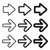 Vector black arrow silhouettes — Stock Vector