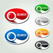 Vector de búsqueda botones ovales, pegatinas con el símbolo de la lupa — Vector de stock