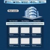 Wektor szablonu sieci web, webdesign nieruchomości wniosek — Wektor stockowy