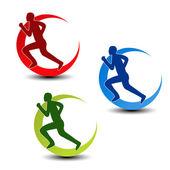 Vector circular symbol of fitness - runner silhouette — Stock Vector