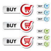 Vector shopping cart item, trolley, buy button — Stock Vector